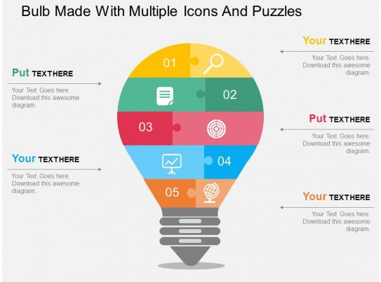 Bulb Made With Multiple Icons And Puzzles Flat Powerpoint