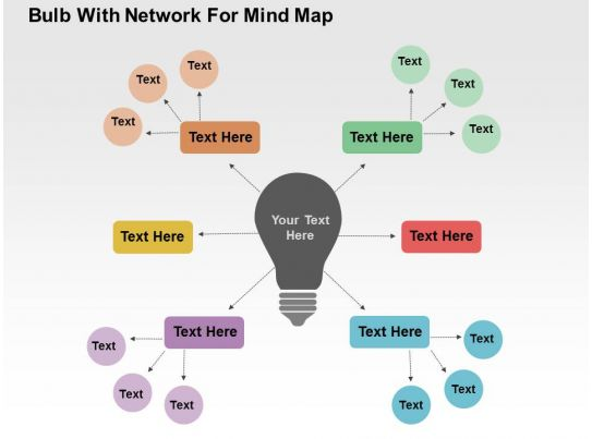 Bulb With Network For Mind Map Flat Powerpoint Design