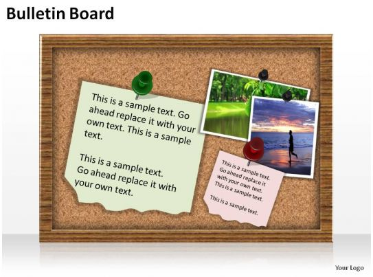 Bulletin board with post its and pins slides presentation for Bulletin board template word