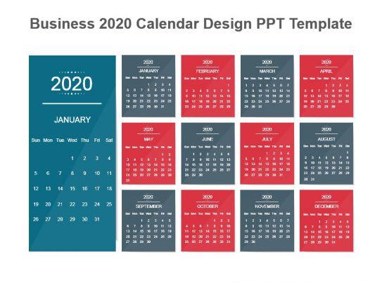 business 2020 calendar design ppt template