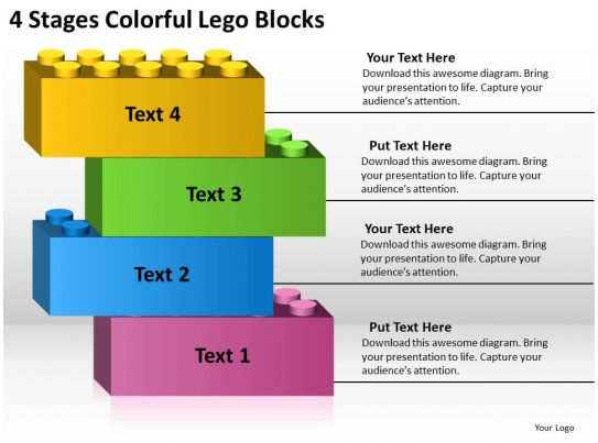 business analysis diagrams 4 stages colorful lego blocks powerpoint