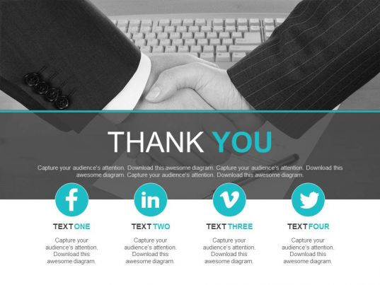 business deal for social media marketing with thank you powerpoint, Presentation templates