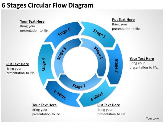 business diagram chart 6 stages circular flow powerpoint