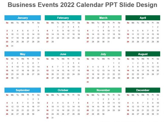 Calendar Design Powerpoint : Business events calendar ppt slide design