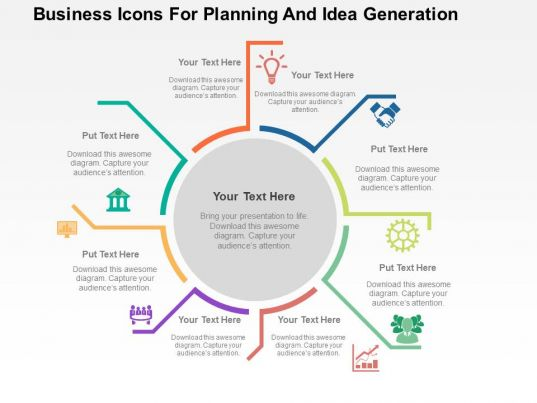 Business icons for planning and idea generation flat powerpoint design