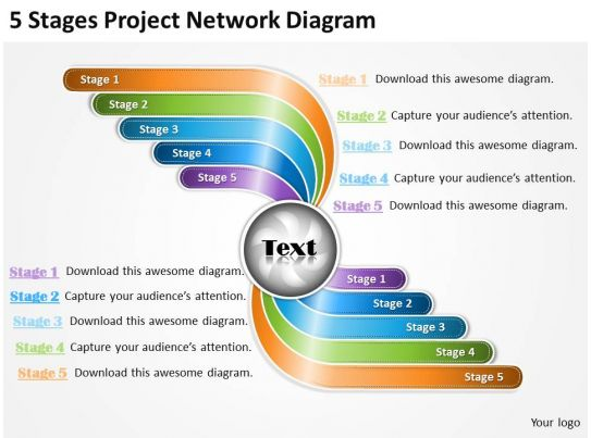 network diagram project management ppt network curved arrow multicolor diagram 5 steps ppt powerpoint slides on network diagram project management ppt
