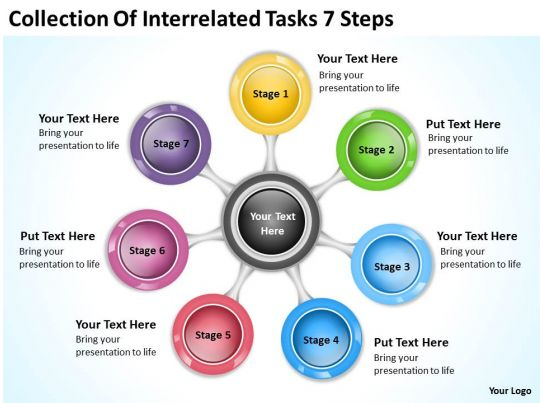 business model diagram collection of interrelated tasks 7 steps powerpoint templates