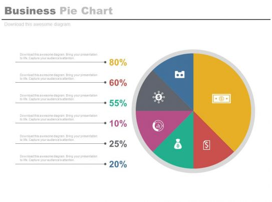 business pie chart with percentage analysis powerpoint