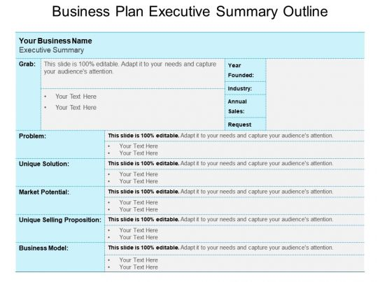 Business Plan Executive Summary Outline Powerpoint