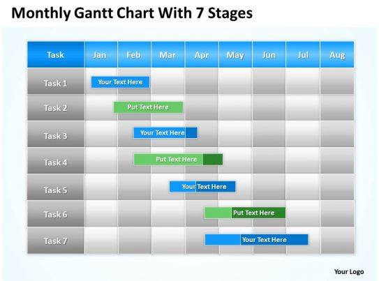 Business Plan Outline Gantt Chart With 7 Stages Powerpoint Templates