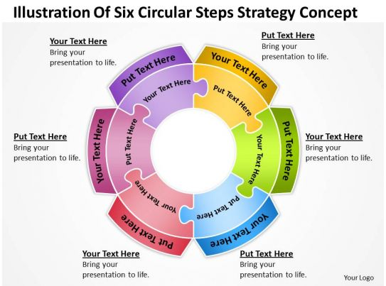 Business Powerpoint Examples Of Six Circular Steps