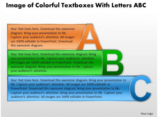 Image of colorful textboxes with letters abc sales ppt slides