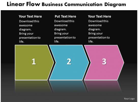 Business Powerpoint Templates Linear Flow Communication Diagram