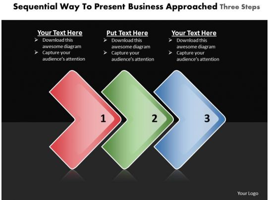 business powerpoint templates sequential way to present approaches