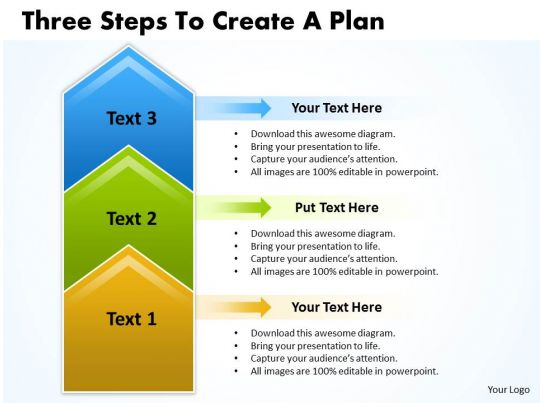 business powerpoint templates three steps to create plan