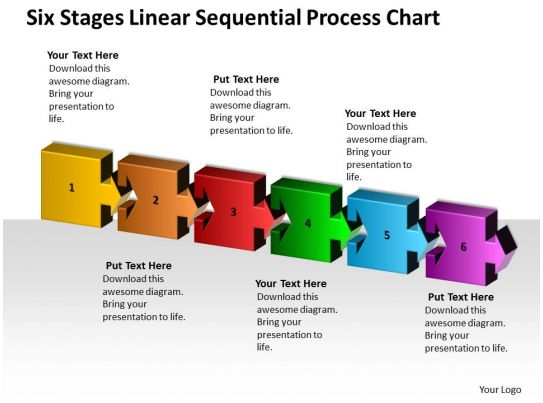 business process flow diagrams six stages linear