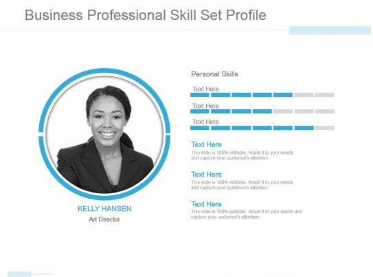 Business professional skill set profile powerpoint slide for Personal profile design templates