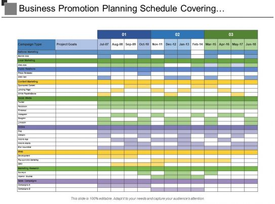 business promotion planning schedule covering campaign type with