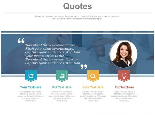 Business Quotes For Female Employee Powerpoint Slides