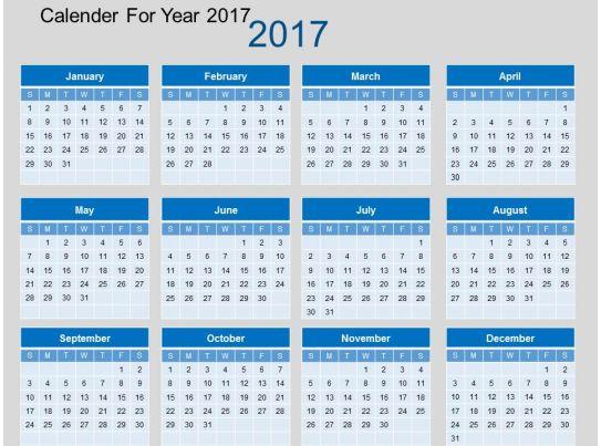 Calendar Art For Powerpoint : Calendar for year flat powerpoint design