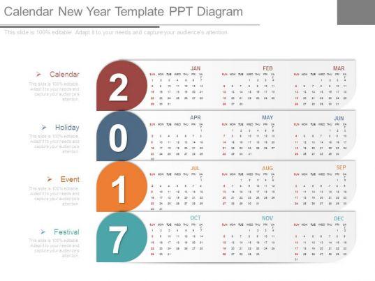 calendar new year template ppt diagram