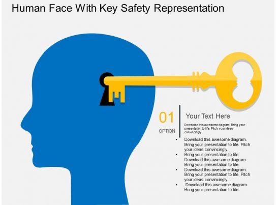 ce Human Face With Key Safety Representation Flat Powerpoint ...