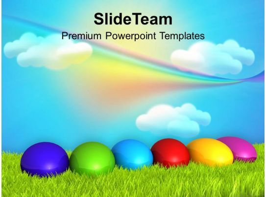 Christ Easter Eggs With Rainbow Theme Powerpoint Templates