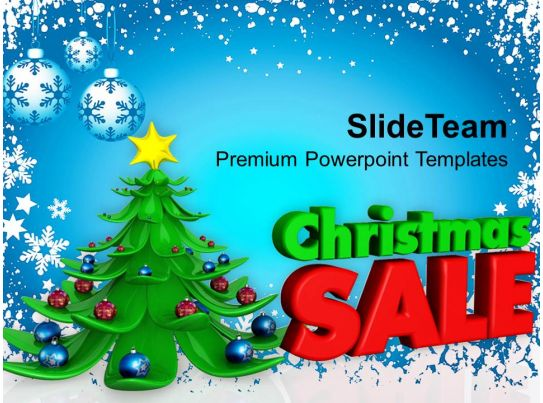 christmas holiday d decorative tree with sale shopping powerpoint, Powerpoint