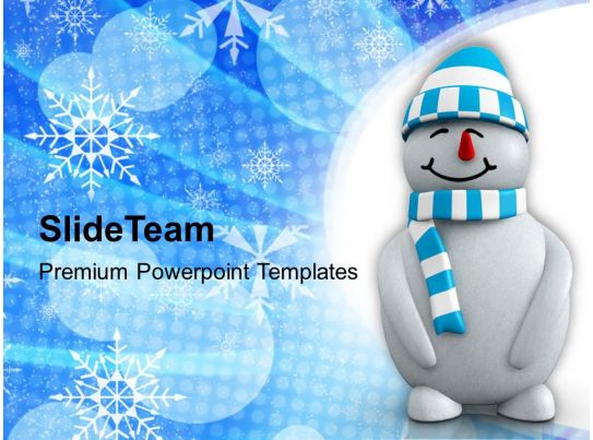 christmas ornament 3d snowman on background powerpoint
