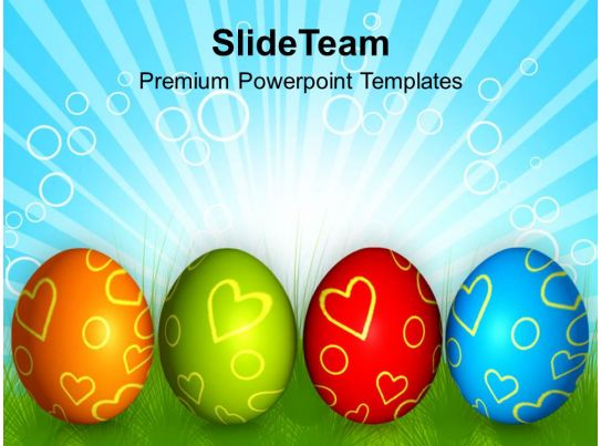 Church Easter Row Of Colorful Eggs Festival Powerpoint Templates