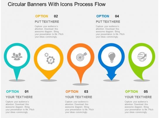 circular banners with icons process flow flat powerpoint design. Black Bedroom Furniture Sets. Home Design Ideas