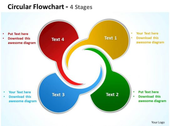 Circular Flowchart 4 Stages Powerpoint Templates Graphics Slides