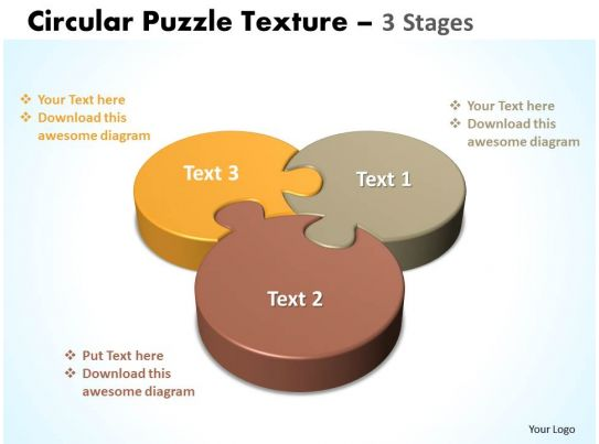 Circular Puzzle Texture 3 Stages Three Diagram Powerpoint Templates