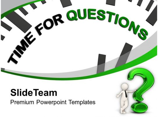 powerpoint questions and answers template - clock with tag time for questions powerpoint templates ppt