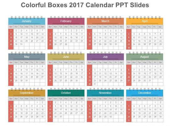 colorful boxes 2017 calendar ppt slides powerpoint shapes powerpoint slide deck template. Black Bedroom Furniture Sets. Home Design Ideas