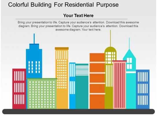 Colorful Building For Residential Purpose Flat Powerpoint Design