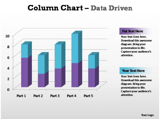column chart data driven editable powerpoint templates