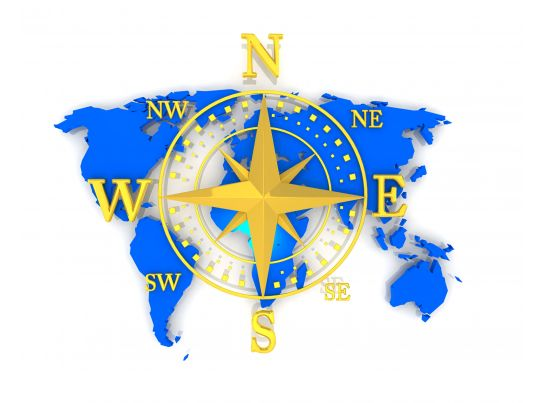 Compass With Directions On World Map Stock Photo | PowerPoint ...
