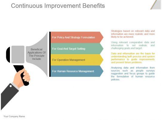 Continuous Improvement Benefits Powerpoint Presentation