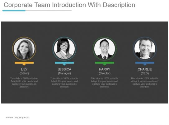 corporate team introduction with description powerpoint
