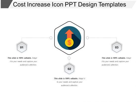 cost increase icon ppt design templates
