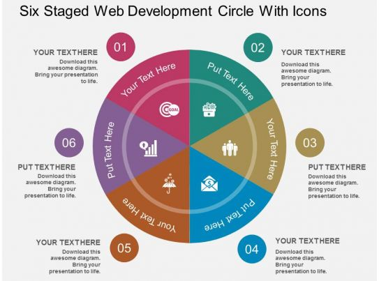 Cr Six Staged Web Development Circle With Icons Flat Powerpoint