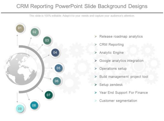crm reporting powerpoint slide background designs