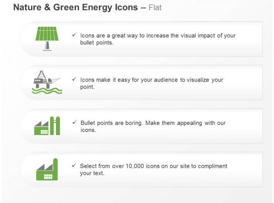 Cw Green Energy Icons For Factory Solar Light Symbols Ppt Icons