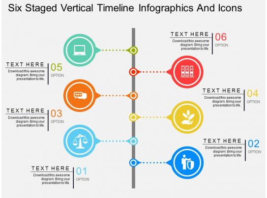 Cw Six Staged Vertical Timeline Infographics And Icons