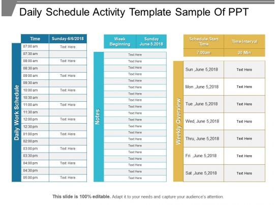 daily schedule activity template sample of ppt