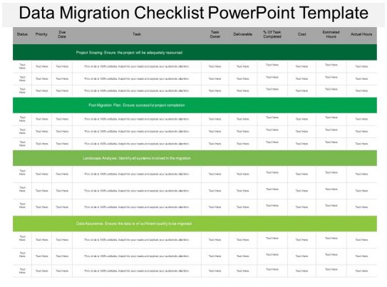 data migration strategy template - data migration checklist powerpoint template ppt images