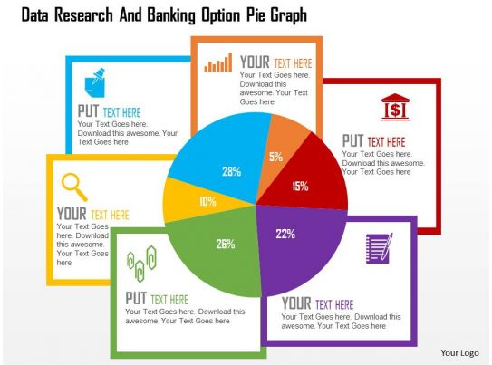 Data Research And Banking Option Pie Graph Flat Powerpoint