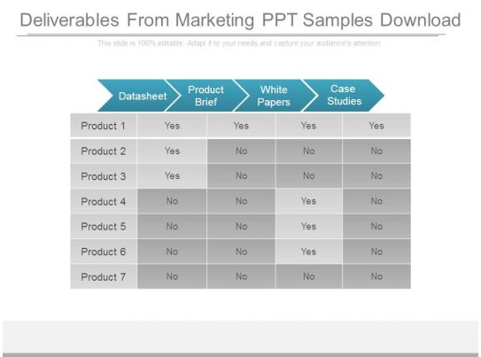 marketing deliverables template - deliverables from marketing ppt samples download