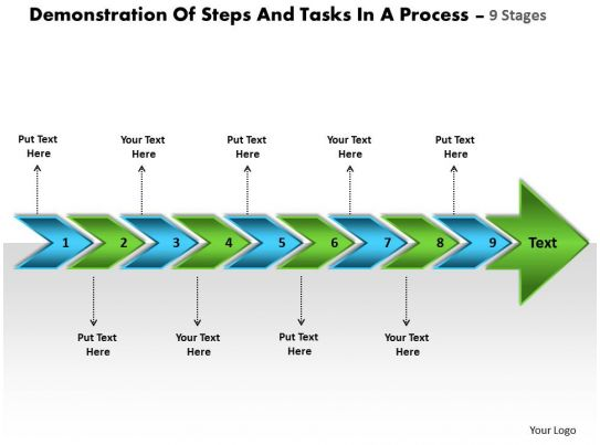Demonstration Of Steps And Tasks In Process 9 Stages Draw